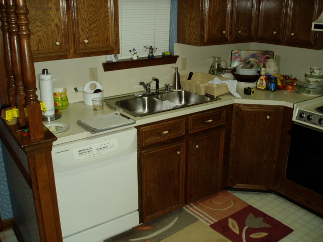 View of original cabinets before remodel